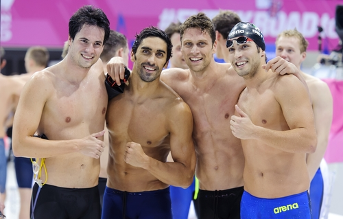 Team ITALY Bronze medal Andrea Mitchell D'ARRIGO - Filippo MAGNINI - Luca DOTTO Gabriele DETTI 4x200m Freestyle Relay Men London, Queen Elizabeth II Olympic Park Pool LEN 2016 European Aquatics Elite Championships Swimming Day 13 21-05-2016 Photo Andrea Staccioli/Deepbluemedia/Insidefoto