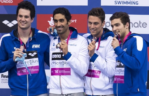 Team ITALY Bronze Medal Andrea Mitchell D'Arrigo - Filippo MAGNINI - Luca DOTTO _ Gabriele DETTI London, Queen Elizabeth II Olympic Park Pool LEN 2016 European Aquatics Elite Championships Swimming Men's 4x200m freestyle final Day 13 21-05-2016 Photo Giorgio Perottino/Deepbluemedia/Insidefoto