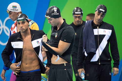 Di Giorgio Alex, Detti Gabriele, D Arrigo Mitch, Belotti Marco 4x200 freestyle men Team Italy Rio de Janeiro XXXI Olympic Games Olympic Aquatics Stadium swimming finals 09/08/2016 Photo Andrea Staccioli/Deepbluemedia/Insidefoto